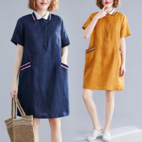 Dress Summer 2020 Ginger, navy L [100-140 kg], XL [140-170 kg], XXL [170-200 kg] Mid length dress singleton  Short sleeve commute Polo collar Loose waist Solid color Three buttons A-line skirt routine Others Type A Other / other literature Pocket, button 81% (inclusive) - 90% (inclusive) other hemp