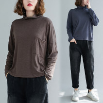 Women's large Winter 2020, autumn 2020 Brown, blue, black Average size [100-200kg recommended] T-shirt singleton  commute easy moderate Socket Long sleeves Solid color Korean version High collar routine cotton Collage routine Other / other pocket 51% (inclusive) - 70% (inclusive)