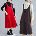 Women's large Autumn of 2019, winter of 2019 Brown, red, black XL [100-140 kg], XXL [140-180 kg] Dress singleton  commute easy moderate Socket Sleeveless Solid color Retro Crew neck cotton Collage Other / other pocket 81% (inclusive) - 90% (inclusive) Medium length