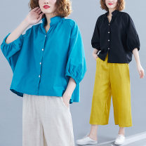 Women's large Summer of 2019 Sky blue, black L [100-160 kg], XL [160-220 kg] shirt singleton  commute easy moderate Cardigan elbow sleeve Solid color Korean version V-neck routine Cotton, hemp fold Bat sleeve Other / other 81% (inclusive) - 90% (inclusive)