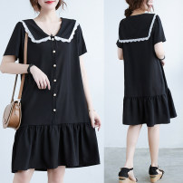 Women's large Summer 2021 Lace collar XL [recommended 95-120 kg], XXL [recommended 120-140 kg], 3XL [recommended 140-170 kg], 4XL [recommended 170-210 kg] Dress singleton  commute easy thin Socket Short sleeve Solid color Korean version Admiral Polyester, polyester Collage routine Other / other