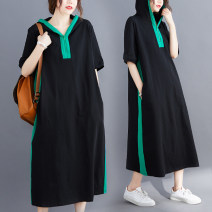 Women's large Summer 2020 Picture color L [100-150 Jin], XL [150-200 Jin] Dress singleton  commute easy moderate Socket Short sleeve Solid color Korean version Hood cotton routine Other / other 81% (inclusive) - 90% (inclusive) longuette