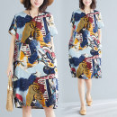 Women's large Summer of 2019 Picture color M [90-115 Jin], l [115-125 Jin], XL [125-140 Jin], XXL [140-160 Jin], 3XL [160-180 Jin], 4XL [180-200 Jin] Dress singleton  commute easy thin Socket Short sleeve Abstract pattern ethnic style V-neck hemp printing and dyeing routine Other / other
