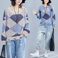 Women's large Autumn of 2019 Apricot, light blue Average size [100-200kg] sweater singleton  commute easy thick Socket Long sleeves shape Korean version Crew neck routine acrylic fibres Hand abrasion routine Other / other 18-24 years old 81% (inclusive) - 90% (inclusive)