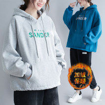 Women's large Winter 2020 Gray, blue, black Average size [recommended 110-210 kg] Sweater / sweater singleton  commute easy thickening Socket Long sleeves letter Korean version Hood routine cotton 91% (inclusive) - 95% (inclusive)
