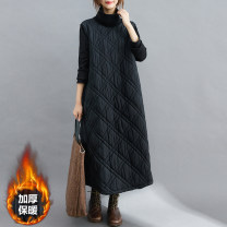 Dress Winter 2020 Brown, black M [recommended 95-120 kg], l [recommended 120-140 kg], XL [recommended 140-170 kg], XXL [recommended 170-200 kg] longuette singleton  Long sleeves commute High collar Loose waist Solid color Socket other routine Others 30-34 years old Type H Other / other Korean version