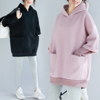Women's large Winter 2020, autumn 2020 Black, pink Sweater / sweater Fake two pieces commute easy thickening Socket Long sleeves Solid color Korean version Hood Medium length Polyester, polyester Collage routine Other / other pocket 31% (inclusive) - 50% (inclusive)