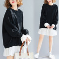 Women's large Spring of 2019 Black and white Average size [110-210kg] Dress Fake two pieces commute easy moderate Socket Long sleeves Solid color Korean version Crew neck cotton Collage Other / other 81% (inclusive) - 90% (inclusive) Medium length