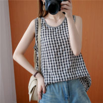 Women's large Summer 2020 Red check vest, black check vest Average size [100-180 Jin] T-shirt singleton  commute easy moderate Socket Sleeveless lattice literature Crew neck routine Cotton, hemp Three dimensional cutting Other / other 31% (inclusive) - 50% (inclusive)