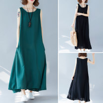 Women's large Summer of 2019 Green, black Average size [100-160 kg] Dress singleton  commute easy thin Socket Sleeveless Solid color Korean version Crew neck cotton Other / other 81% (inclusive) - 90% (inclusive) longuette