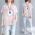 T-shirt Pink L [100-150 Jin], XL [150-200 Jin] Summer of 2018 Short sleeve Crew neck easy Regular routine commute cotton 96% and above Korean version originality Plants and flowers Other / other printing