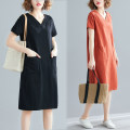 Women's large Summer 2020 Blue, black, brick red XL [90-120 Jin], XXL [120-140 Jin], 3XL [140-170 Jin], 4XL [170-210 Jin] Dress singleton  commute easy thin Socket Short sleeve Solid color Korean version V-neck Medium length cotton Collage routine Other / other pocket 96% and above Medium length