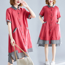 Women's large Summer of 2019 gules L [95-130 kg], XL [130-170 kg] shirt singleton  commute easy moderate Cardigan Short sleeve Solid color Korean version Polo collar Cotton, hemp Collage routine Other / other pocket 81% (inclusive) - 90% (inclusive) Medium length