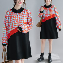 Women's large Spring 2021 black Average size [100-200kg recommended] Dress singleton  commute easy moderate Socket Long sleeves houndstooth  Korean version Half high collar Polyester, cotton Collage routine Other / other 25-29 years old pocket 51% (inclusive) - 70% (inclusive) Medium length