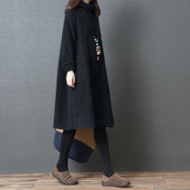 Women's large Winter 2020 Black, brown M [100-120 kg], l [120-140 kg], XL [140-170 kg] Dress singleton  commute easy thick Socket Long sleeves Solid color Korean version High collar Cotton, others Collage routine Other / other 81% (inclusive) - 90% (inclusive) Medium length