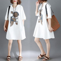 Women's large Summer 2020 Off white, blue, black L [100-160 kg], XL [160-210 kg] Dress singleton  commute easy moderate Socket elbow sleeve Cartoon animation Korean version Hood cotton printing and dyeing routine Other / other pocket 96% and above Medium length