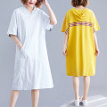 Dress Summer of 2019 White, red, yellow, black One size fits all Mid length dress singleton  Short sleeve commute Hood Loose waist Solid color Socket A-line skirt routine Others Type A Other / other Korean version pocket 81% (inclusive) - 90% (inclusive) other cotton