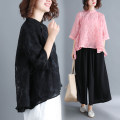 shirt White, red, black, pink Average size [95-160 Jin] Autumn of 2018 other 71% (inclusive) - 80% (inclusive) three quarter sleeve commute Regular stand collar Single row multi button routine Solid color Straight cylinder Other / other literature Lace, button