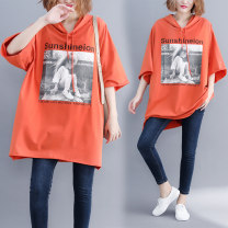 Women's large Summer 2020, spring 2020 Orange Average size [110-210kg] Sweater / sweater singleton  commute easy moderate Socket three quarter sleeve Letters, characters literature Hood Medium length Cotton, others printing and dyeing Bat sleeve Other / other Bandage 81% (inclusive) - 90% (inclusive)