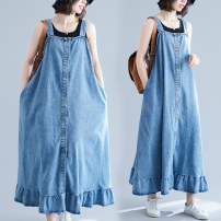 Dress Summer 2020 blue longuette singleton  Sleeveless commute One word collar Loose waist Solid color Socket Ruffle Skirt straps Type A Other / other Korean version Ruffles, stitching 81% (inclusive) - 90% (inclusive) Denim cotton
