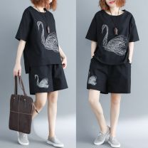 Women's large Summer 2020 black Average size [100-200kg] Two piece set commute easy moderate Short sleeve Animal design Korean version Crew neck routine Cotton, hemp printing and dyeing routine Other / other pocket 71% (inclusive) - 80% (inclusive) shorts