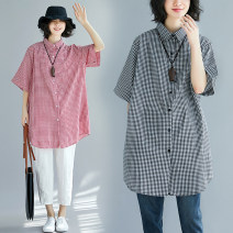 shirt Red, black Summer of 2018 hemp 81% (inclusive) - 90% (inclusive) Short sleeve commute Medium length Polo collar Single row multi button routine lattice Self cultivation Other / other Korean version Pocket, button