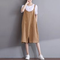 Dress Summer of 2018 Black, khaki Mid length dress singleton  Sleeveless commute Crew neck Loose waist Solid color Socket A-line skirt other straps Type A Other / other literature Pocket, strap 71% (inclusive) - 80% (inclusive) other hemp