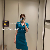 Dress Spring 2021 As shown in the figure Xs, s, m, l, XL, do not return, do not change, do not run the order, consult customer service before placing the order, pay 1% service charge for credit card longuette singleton  Short sleeve commute V-neck High waist Solid color Socket A-line skirt routine BV