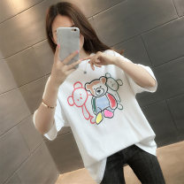 T-shirt Pink White Black S M L XL Summer 2021 Short sleeve Crew neck easy Regular routine commute other 96% and above Korean version youth Cartoon animation KEQILI KQ15233HTFZ217075842 printing Other 100% Pure e-commerce (online only)