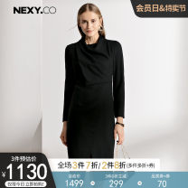 Dress Spring of 2019 black 36/S 38/M 40/L 42/XL 44/XXL Mid length dress singleton  Long sleeves commute Dangling collar middle-waisted Solid color zipper Pencil skirt routine Others 35-39 years old Type H NEXY.CO/ Naikou Simplicity Asymmetry More than 95% other wool Wool 100%