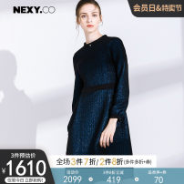 Dress Autumn of 2018 blue 36/S 38/M 40/L 42/XL 44/XXL Middle-skirt singleton  Long sleeves commute High collar middle-waisted Solid color zipper Lantern skirt routine Others 35-39 years old Type A NEXY.CO/ Naikou Simplicity More than 95% other Other 100%