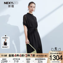 Dress Summer 2021 black 36/S 38/M 40/L 42/XL 44/XXL Mid length dress singleton  Short sleeve commute stand collar High waist Solid color zipper A-line skirt routine Others 35-39 years old Type A NEXY.CO/ Naikou Simplicity More than 95% polyester fiber Polyester 100%