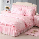 Bedding Set / four piece set / multi piece set cotton other Plants and flowers 133x72 Ingenious life cotton 4 pieces 40 Pair with lace pillowcase and bow Pillowcase Bed skirt Qualified products Princess style 100% cotton twill Reactive Print  83501-20210302