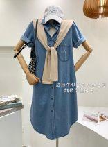 Dress Summer 2021 Picture color Average size Mid length dress Two piece set Short sleeve commute Polo collar Solid color routine Korean version cowboy 31% (inclusive) - 50% (inclusive) Denim