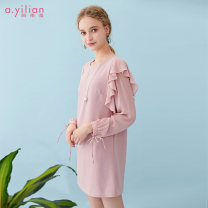 Dress Spring of 2019 S M L XL Short skirt singleton  Long sleeves Sweet Crew neck Solid color zipper other other 18-24 years old Type H Ailian Lotus leaf edge More than 95% polyester fiber Polyester 100% Ruili