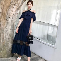 Women's large Summer 2021 Navy Blue Dress singleton  commute easy thin Socket Short sleeve Solid color Korean version One word collar Polyester, cotton Collage Lotus leaf sleeve K-005 30-34 years old Lace stitching longuette Ruffle Skirt