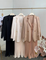 Women's large Spring 2021, summer 2021 Large L , Large XL , 2XL , 3XL , 4XL , 5XL , M , S Dress Two piece set commute thin Socket Solid color Korean version routine Polyester, acetate fiber routine Ouwei Pavilion 30-34 years old pocket Medium length Pleated skirt Lotus leaf edge