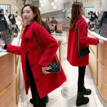 woolen coat Autumn 2020 XS,S,M,L,XL Positive red other 30% and below Medium length Long sleeves commute Single breasted Straight cylinder Korean version