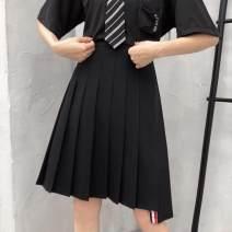 skirt Summer 2020 M,L,XL,2XL,3XL,4XL Black, gray Mid length dress commute High waist Pleated skirt lattice Type A 51% (inclusive) - 70% (inclusive) other other Fold, asymmetry, zipper Korean version