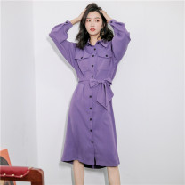 Dress Spring 2020 wisteria  S,M,L Mid length dress singleton  Long sleeves commute Polo collar middle-waisted Solid color Single breasted A-line skirt routine Others 18-24 years old Type H Other / other Korean version 30% and below other other