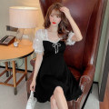 Dress Summer 2021 black S,M,L,XL,2XL Short skirt singleton  Short sleeve commute square neck middle-waisted Solid color zipper A-line skirt puff sleeve Others 18-24 years old Type A lady Bow, ruffle, stitching, mesh, zipper, lace 838 fixation 51% (inclusive) - 70% (inclusive) other cotton