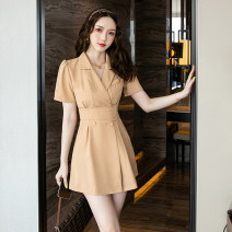 Dress Summer 2021 Black, khaki S,M,L,XL,2XL Short skirt singleton  Short sleeve commute tailored collar High waist Solid color double-breasted A-line skirt routine 18-24 years old Type A Korean version Button 9057 in stock