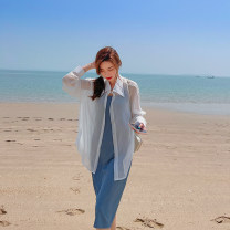 shirt White and blue suit Average size Summer 2021 Cellulose acetate 51% (inclusive) - 70% (inclusive) Long sleeves commute Regular Polo collar other raglan sleeve Solid color Straight cylinder Korean version two thousand and twenty-one - TZ1125L polyester cotton