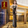 Dress / evening wear Dating, acting, company annual meeting, party, adulthood, wedding XXL,S,M,L,XL Black perspective long dress sexy longuette Summer of 2018 Sling type Hollowing out Mesh, spandex