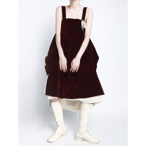 Dress Winter 2020 claret S, M longuette singleton  Sleeveless commute High waist Solid color camisole 25-29 years old Type A Button polyester fiber