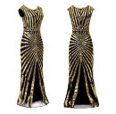 Dress Autumn of 2019 Green, black, gold, silver, pink S,M,L,XL,XXL Mid length dress singleton  Short sleeve street Crew neck High waist Solid color Socket One pace skirt Others 25-29 years old Sequins CQ-06 other Europe and America