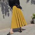 skirt Winter of 2018 Mid length dress commute High waist Pleated skirt Solid color Type A 25-29 years old D178 More than 95% other I'm the most beautiful woman polyester fiber Pleated fold Retro Polyethylene terephthalate (polyester) 100% Pure e-commerce (online only)