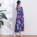 Dress Spring 2020 Noble blue S,M,L,XL,2XL,3XL longuette singleton  three quarter sleeve commute Crew neck middle-waisted Decor Socket Big swing routine Others Type H Skirt dancing ethnic style 51% (inclusive) - 70% (inclusive) other hemp