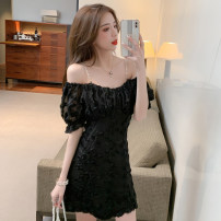 Dress Summer 2021 black S,M,L,XL Short skirt singleton  Short sleeve commute One word collar High waist Solid color zipper One pace skirt puff sleeve camisole 25-29 years old Type X Korean version Zipper, stitching, backless, pleated