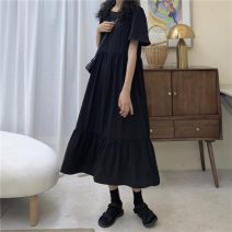 Dress Summer 2020 Black dress Average size longuette singleton  Short sleeve commute square neck Loose waist Solid color 18-24 years old Type H other